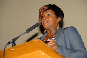 Tameka Empson presenting at The Black Comedy Awards Ceremony 2012